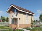 Одноэтажный дом с мансардой, террасой и балконами